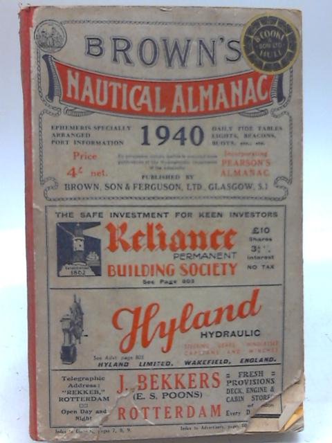 Browns Nautical Almanac 1940 By James R. Brown