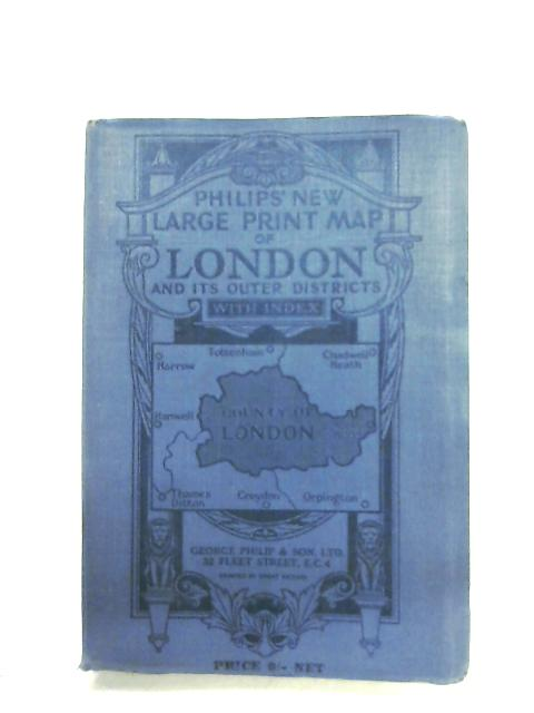 Philips' New Large Print Map of London By Anon