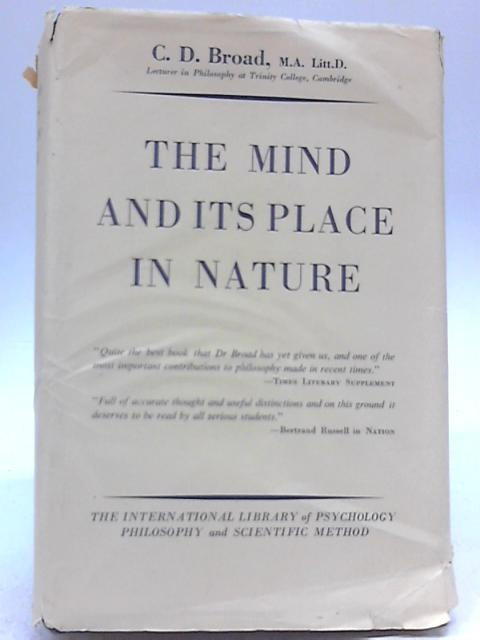 The Mind and Its Place in Nature by C D Broad