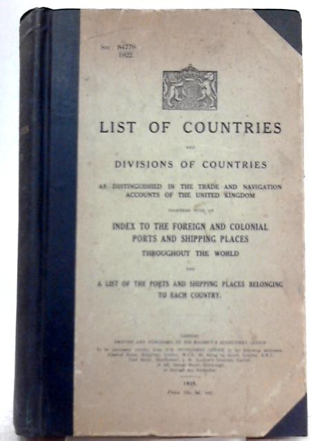 List of Countries and Divisions of Countries