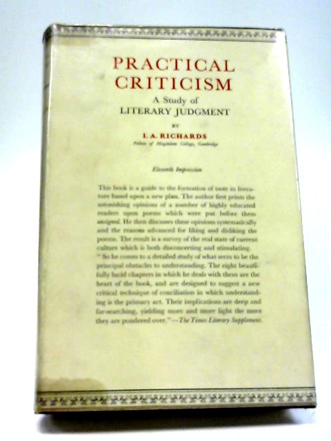 Practical Criticism By I.A.Richards
