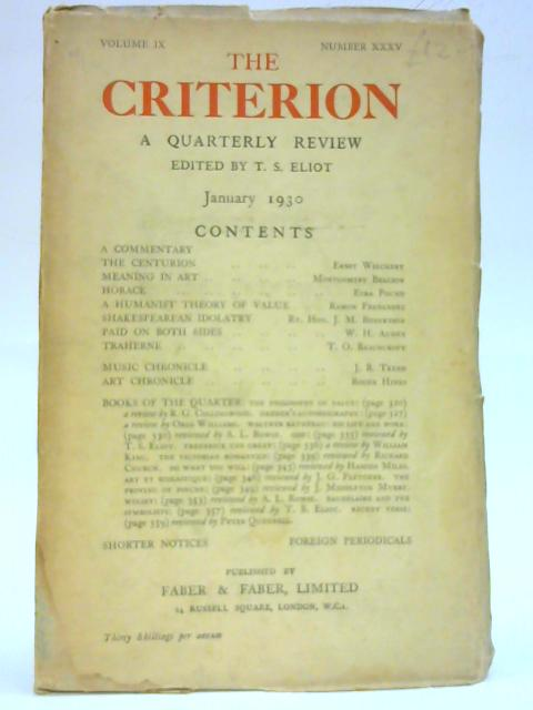 The Criterion Vol IX Number XXXV January 1930 By T. S. Eliot (Ed.)