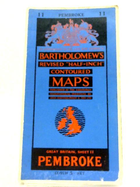 """Bartholomew's Revised """"Half-Inch"""" Contoured Maps - Great Britain, Sheet 11 Pembroke By Bartholomew"""