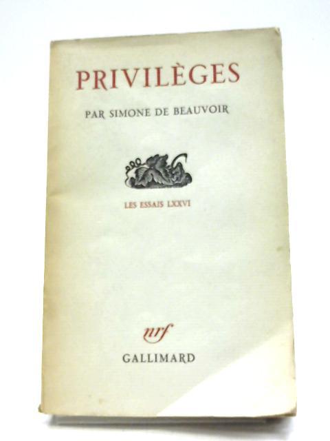 Privilèges By Simone De Beauvoir
