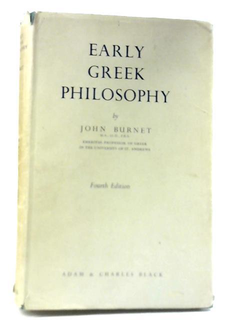 Early Greek Philosophy By John Burnet