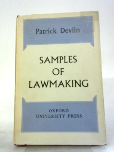 Samples of Lawmaking By Patrick Devlin