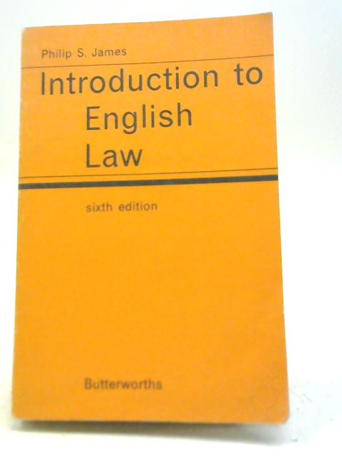Introduction to English Law By Philip Seaforth James