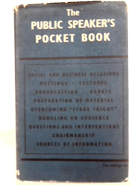 The Public Speaker's Pocket Book By Carlton Wallace