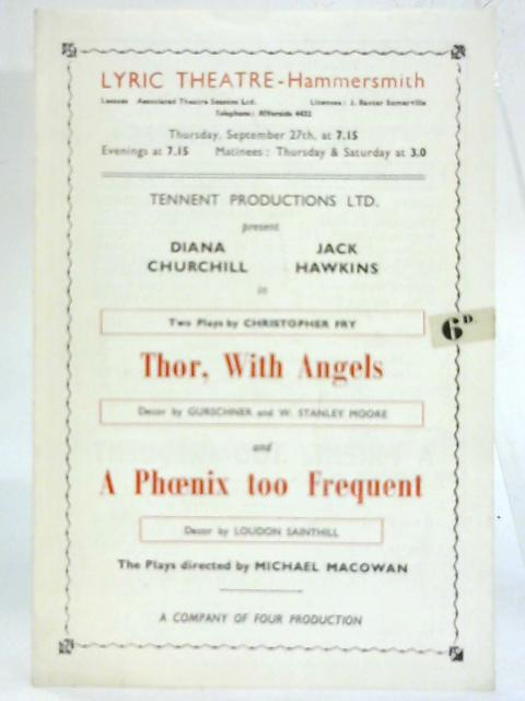 Thor, With Angels & A Phoenix too Frequent Programme, Lyric Theatre. By Anon