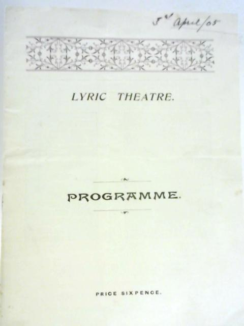 Lyric Theatre Programme - The Talk of the Town By Unstated