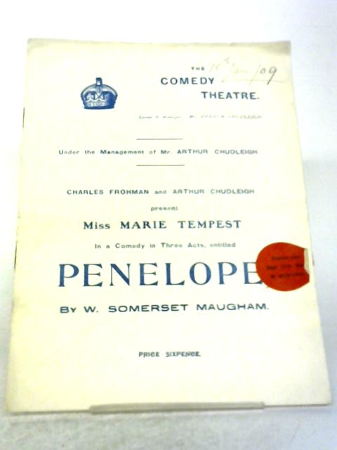 Penelope Comedy Theatre Programme 1909 By Somerset Maugham