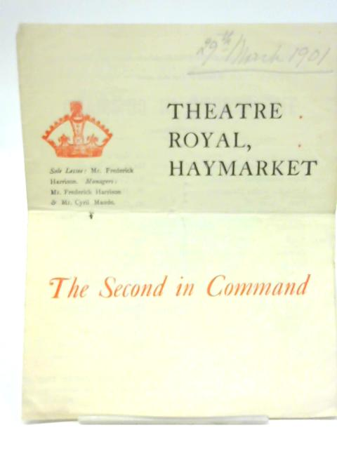The Second in Command, Theatre Royal, Haymarket Programme 1901