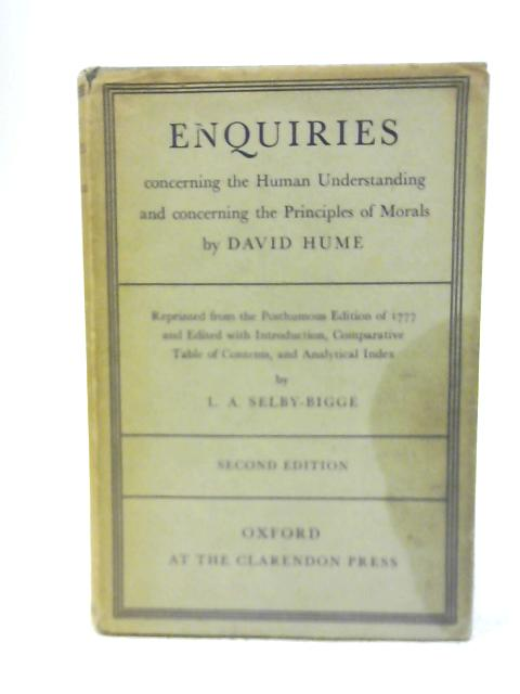 Enquiries By David Hume & L A Selby-Bigge