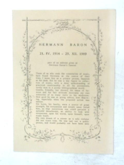 Eulogy Funeral Leaflet for Hermann Baron 1914-1989