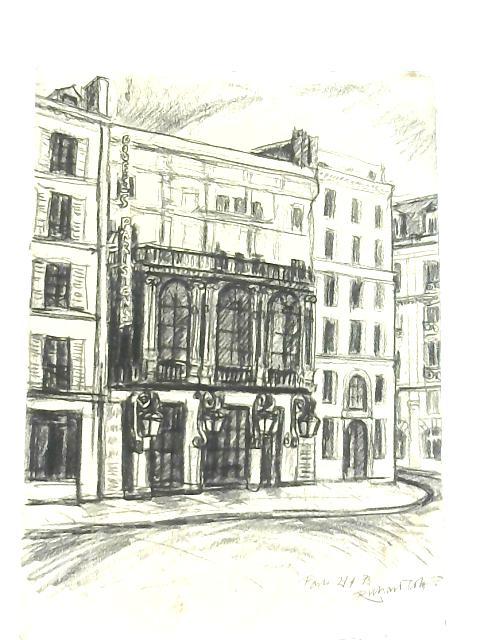 Vintage Line Drawing of Theatre Des Bouffes Parisiens, 1973