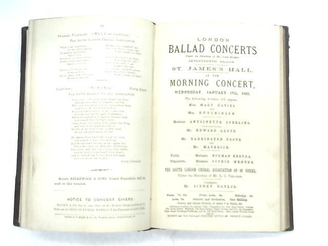 Vintage collection of 19 Ballad Concert Programmes Bound Together