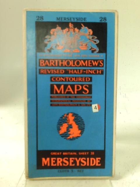 """Bartholomew's Revised """"Half-Inch"""" Contoured Maps - Great Britain, Sheet 28 Merseyside By Bartholomew"""