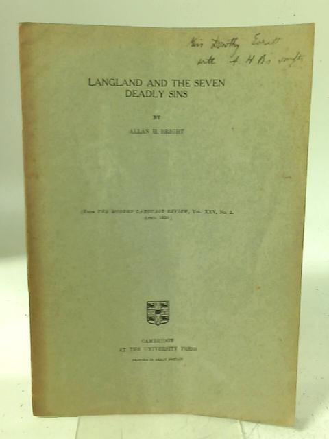 Langland and the Seven Deadly Sins By Allan H Bright