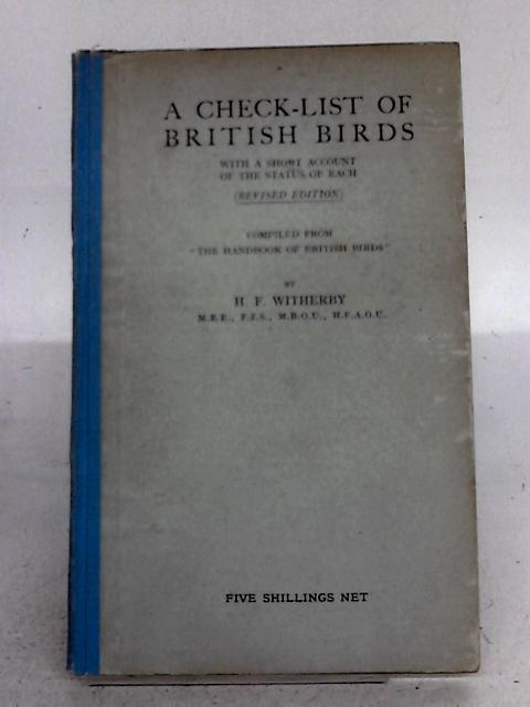 A Check-List of British Birds By H F Witherby