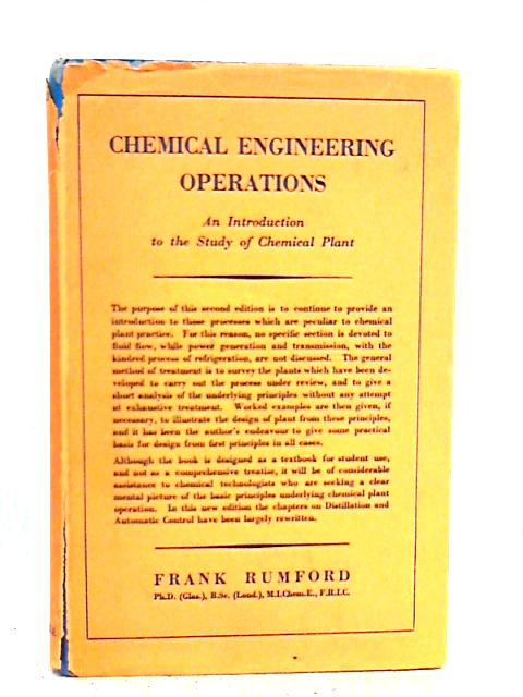 Chemical Engineering Operations By Frank Rumford