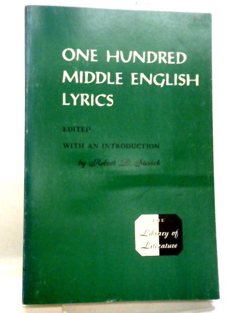 One Hundred Middle English Lyrics By Robert D Stevick
