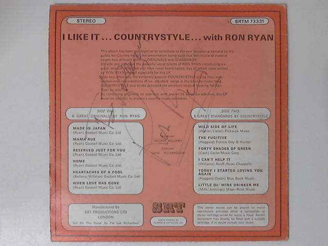 I Like It ...Country Style ...With Ron Ryan SIGNED LP by Ron Ryan