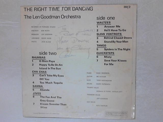 The Right Time For Dancing SIGNED LP By Len Goodman Orch.