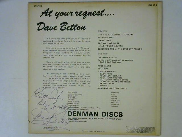 At Your Request... LP Signed By Dave Betton