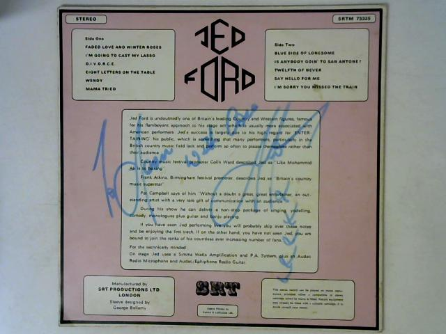 Is Anybody Goin' To San Antone LP Signed By Jed Ford