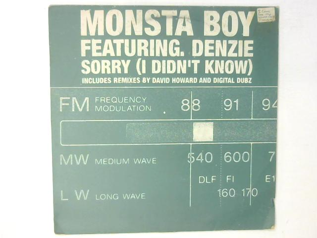 Sorry (I Didn't Know) 12in Single By Monsta Boy ft. Denzee